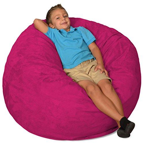 Comfy Sacks 3 ft Memory Foam Bean Bag Chair, Magenta Micro Suede