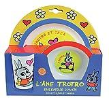 FUN HOUSE 005802 TROTRO Ensemble repas composé d'une assiette, d'un bol et d'un verre pour enfant