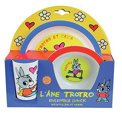 FUN HOUSE 005802 TROTRO Kindergeschirr-Set bestehend aus Teller, Schüssel und Glas