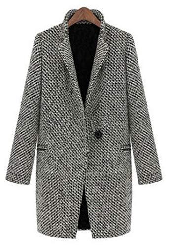 Carl Hamilton Abrigo de lana a cuadros de mujer mezcla de lana gris tweed manga larga botón abrigo chaqueta