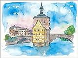 Poster 40 x 30 cm: Brücke in Bamberg Bayern mit Rathaus