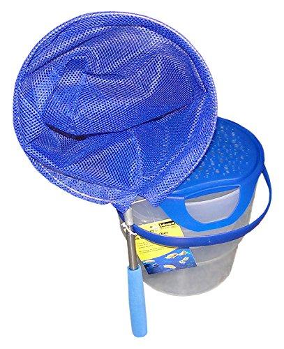 Idena 40081 Fisch Eimer mit Mini Kescher aus Metall mit ausziehbarer Teleskopstange, von ca. 37 cm bis ca. 72 cm, für Kinder oder zum Angeln, blau