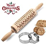 AOSOO Christmas Wooden Rolling Pins+(Cookie Cutters)Engraved Embossing Rolling Pin with...