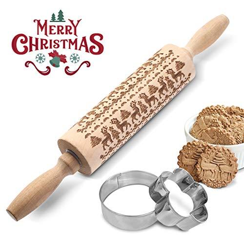 AOSOO Weihnachtliches Nudelholz + (Keksausstecher) Gravierte Prägung Teigrolle mit Weihnachtssymbolen zum Backen von geprägten Plätzchen