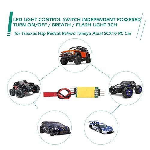 Leeofty Sistema de Panel de interruptores de Control de luz LED Encendido/Apagado Luz de Aliento Luz de Destello 3 Canales Independientes para Traxxas Hsp Redcat Rc4wd Tamiya Axial scx10 D90 RC Car