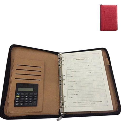 ZZ iluminación Ejecutivo con cremallera organizador profesional de negocios cremallera 6-ring organizador de cartón paquete cartera con papel de calculadora tarjeta bolsa