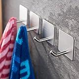 Haken Selbstklebende Handtuchhaken ohne Bohren Wandhaken 4 Stk Klebehaken Edelstahl für Küche und...
