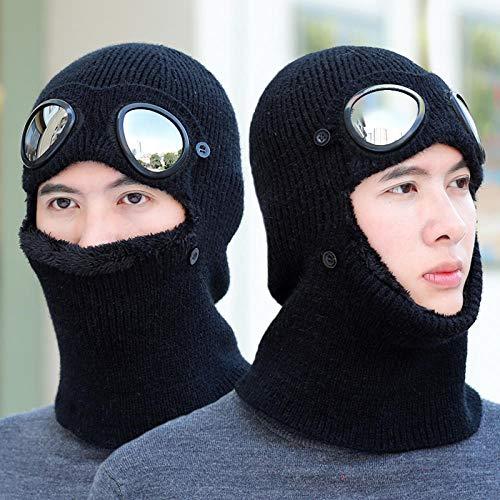 WANGQING Hut Winter mit Brille Hut männliche Maske Lätzchen integrierte kalte warme Mütze Ohrenschützer Strickmütze