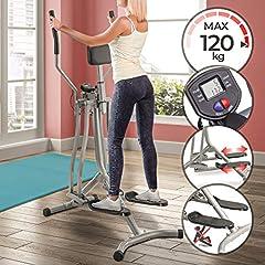 Physionics elliptische crosstrainer met LCD-display - voor thuis, met hartslagsensor en buikondersteuning - hometrainer stepper, cardiotrainer, Nordic walker*