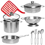Liberty Imports Stainless Steel Metal Pots and Pans Kitchen Cookware Playset for Kids with Cooking...