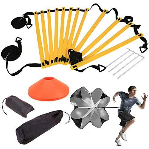 Ajfashion - Escalera de agilidad, 6 m, 12 peldaños, con paracaídas de velocidad, 5 conos, equipo de entrenamiento de velocidad, agilidad, amarillo