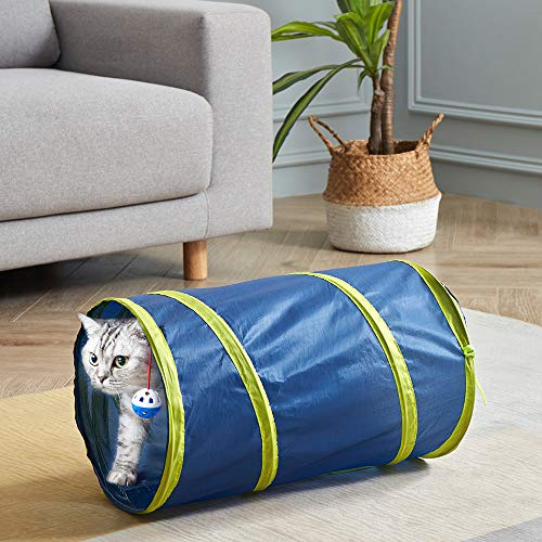 SunStyle Home Cat Tunnels for Indoor Cats 2/3 Way Play Toy Kitty Tunnel Peek Hole Toy with Ball for Cat Tube Fun for Rabbits Kittens and Dogs