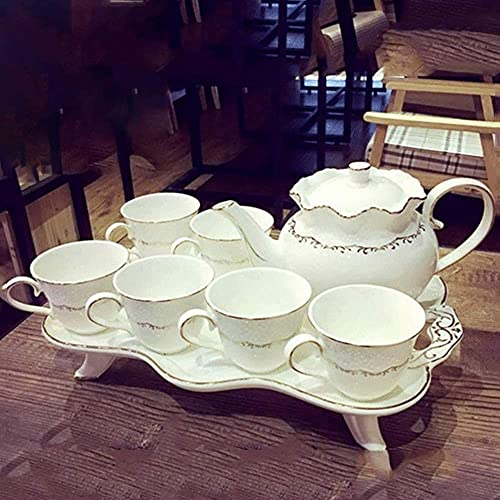 XiYou Juego de Tazas de café Juego de té de cerámica de Hueso de China Cerámica Creativa Té de la Tarde británico Taza de té (1 Tetera, 6 Tazas de té, 1 Bandeja de té), Regalo