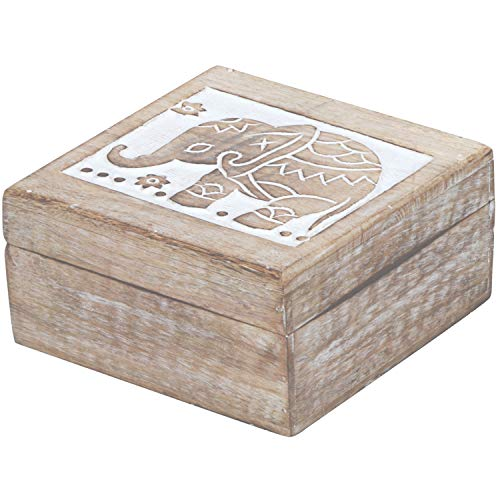 Marrakesch Awa - Caja de almacenaje con tapa (17 cm, madera), diseño oriental