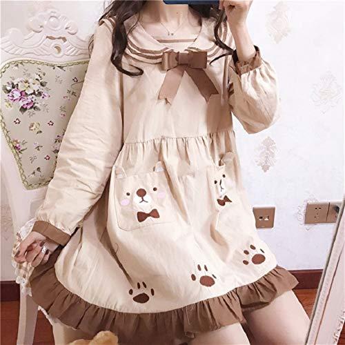 S-Chihir Vestido de Falda Vestidos de Manga Larga Vestido de Lolita japonés Dulce Marinero Vestido Vestido Lolita pequeño Bowknot Kawaii Oso Bolsillos Vestido gótico Estudiante...