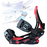 SCXLF Fijaciones de Snowboard Invierno, Correa de Fijaciones Tabla Esquí Ajustable, Equipo de Esquí EVA, Soporte de Snowboard,Black & Red,M(37~41)