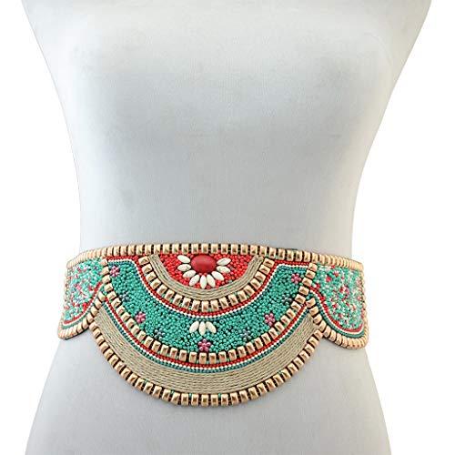 JFTMY Moda Mujer cinturón Naturaleza mar cáscara Cinturones Abalorios Flor Vintage Boda Cintura Bohemian Vestido decoración cinturón (Color : B)