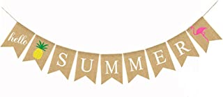 Awyjcas Flamingo Pineapple Hello Summer Bunting Banner Celebrating Baby Shower The Arrival of Summer