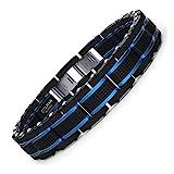 COOLMAN Joyas para Hombre Pulseras Acero Inoxidable Azul & Negro Ajustable 21,5-23cm (con Cierre de Caja de Regalo)