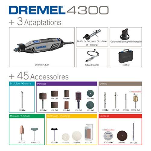 Dremel 4300 Outil Rotatif Multifonction 175W avec 3 Adaptations 45 Accessoires, Vitesse Variable 5000-35000 tr/min pour Découper, Poncer, Percer, Nettoyer, Sculpter, Polir, Graver, Meuler, Défoncer