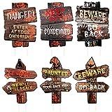 6 piezas de carteles de Halloween para exteriores decoraciones para exteriores, accesorios de cuidado decoración para exteriores carteles de Halloween para exteriores estacas para fiestas de Halloween