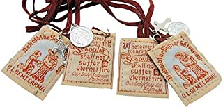 Traditional Best Brown Mt. Carmel Scapular Brown Cord with Benedict Medal and Crucifix 100% Wool & Hand-made in USA By Nuns. Cord Is 18 Inches in Length- Quantity 2