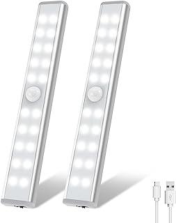 Wardrobe Light, OxyLED Motion Sensor Closet Lights, 20 LED Under Cabinet Lights, USB Rechargeable Stick-on Stairs Step Lig...