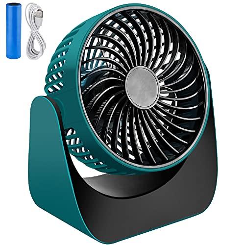 NEUFLY USB Mini Ventilator , Tischventilator mit wiederaufladbare Batterie 3 Geschwindigkeiten Lüfter Geräuscharm USB Fan Einfach zu Tragen - Dunkelgrün