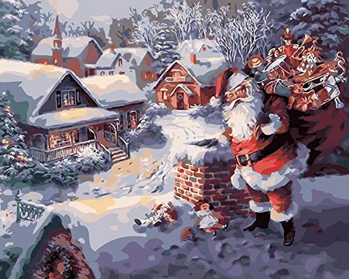 Paint by Number Santa Claus - DIY Oil Painting by Numbers with Brush and Acrylic Paint, Suitable for Adults, Children, Students, Beginners - 16 x 20 inch (Frameless)