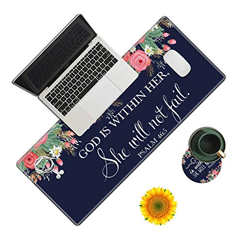 Desk Pad, Bible Verse God is Within her Laptop Desk Mat,Long Large Gaming Mouse Pad with Stitched Edges Non-Slip Writing Mat Desk Blotter Protector for Office Home (with Coaster & Sunflower Sticker)