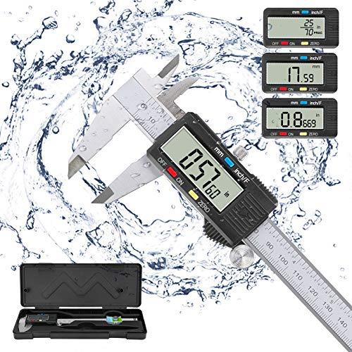 Calibre Digital,POWERAXIS Pie de Rey Digital Calibrador Electrónico Vernier IP54 Impermeable Acero Inoxidable 150 mm,Fracción Digital/Pulgada/Calibrador Métrico con Pantalla LCD Adicional