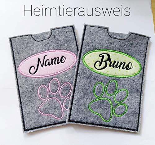 StoffJuLe- Hülle für den Heimtierausweis mit NAMEN für Hund oder Katze/Heimtierausweishülle/Haustier/Hundezubehör/Impfpass /