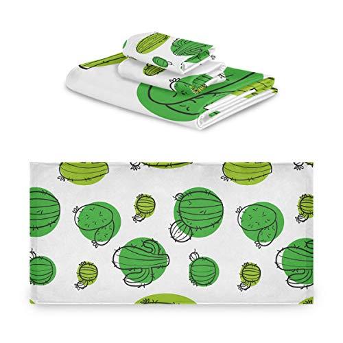 DEZIRO Juego de toallas de baño con diseño de cactus muy absorbentes, juego de tres piezas