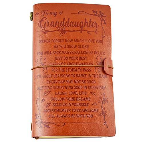 To My Granddaughter Leather Journal from Grandma - Enjoy the Ride and Never Forget the Way Home Notebook - 120 Page Travel Diary Journal Sketch Book Graduation Back to School Gift for Girls