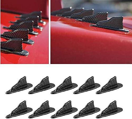 Alpha Racing 10pcs/Set Diffuser Shark Fin Kit Compatible with Spoiler Roof Wing Air Vortex Generator Carbon Fiber Pattern