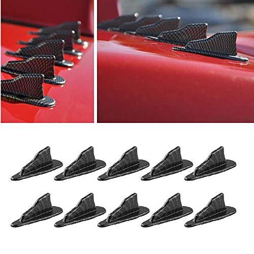 Alpha Racing 10pcs/Set Diffuser Shark Fin Kit for Spoiler Roof Wing Air Vortex Generator Carbon Fiber Pattern