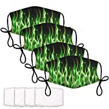 Printed Reusable Face Covering 4 PCS Unisex Flame Green True Fire Flaming Dust Mask