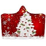 Manta con capucha para llevar con diseño de árbol de Navidad rojo, manta suave para nieve, manta de forro polar de coral, cálida y acogedora, manta para niños, adultos, regalo de 59 x 79 pulgadas