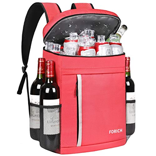 FORICH Cooler Backpack Soft Backpack Cooler Bag Leak Proof Insulated Cooler Backpacks to Beach Camping Hiking Picnic Work Lunch Travel for Men Women (Watermelon Red)