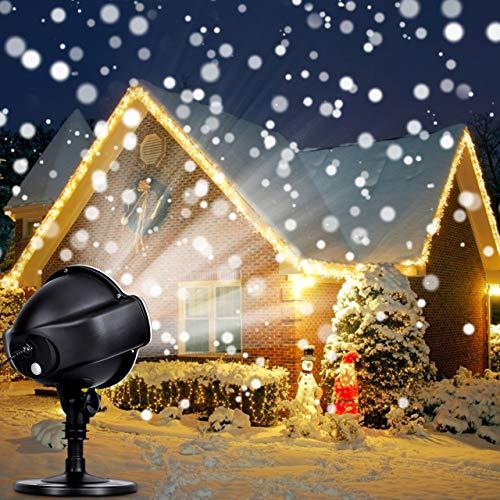 Proiettore Luci Natale - Proiettore di Luci LED Natale Effetto Neve Multi Modi, Impermeabile IP44 Proiettore Natale da Esterno, Proiettore Bassa Tensione Disegno Sicuro, Per Natale Festa Spettacolo