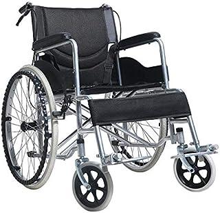 Folding Wheelchair Light Weight Manual Mobility Aid Park Brakes Push Aluminium (Black)