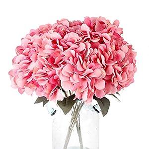 Blooming Paradise 5Heads Artificial Fake Flower Plants Silk Hydrangea Arrangements Wedding Bouquets Decoration Plastic Home Kitchen Garden Party Table Floral centerpieces DIY(Dark Pink)