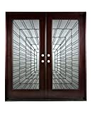 30'X30'X80' Exterior Entry Front Door Time Tunnel Style Right Hand in-Swing Prehung Stained Double Door Solid Wood-Oval Glass