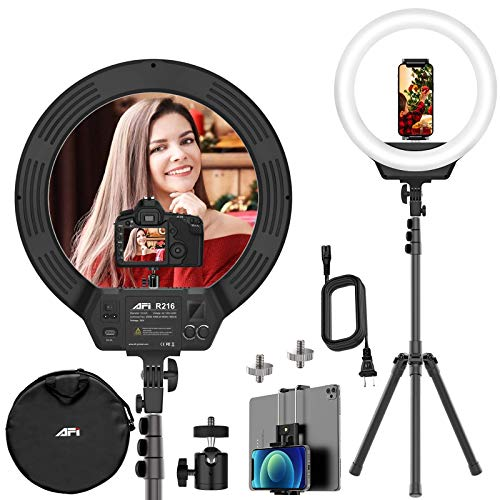 Today Deals 16'' Led Ring Light with Stand, 3200-6500K Ring Light for Video Shooting Photography Makeup Professional Light for Cameras Webcams and Cellphones Compatible with iPhone & Android & DSLR