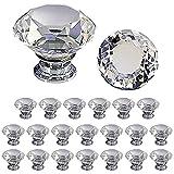 TLBTEK Juego de 20 pomos decorativos de cristal de diamante de 30 mm, mini manijas de armario, kit de tiradores de cajones facetados para muebles de baño, cocina, escritorio, lavandería