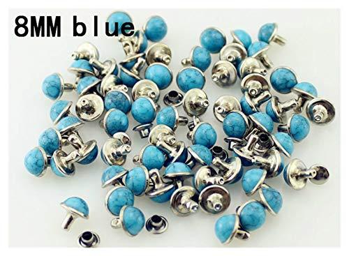 Duradero 100sets / Lot acrílico Turquesa y Remaches de latón para Tachuelas de Cuero y espigas para Bolsas de Ropa Accesorio de Bricolaje para la reparación de artesanías (Color : 8mm Blue)