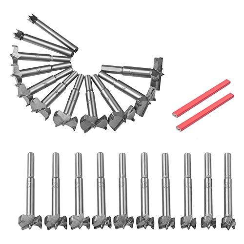 JVSISM 23PCS Forstner Drill Bit Tungsten Steel Boring Hole Saw Set Round Shank Forstner Drill Cutter 10mm - 42mm Bit Set