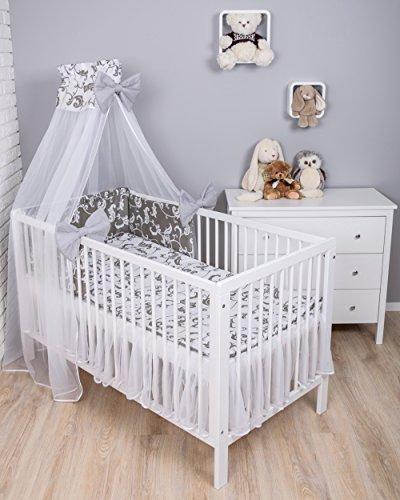 Amilian® Baby Bettwäsche 7tlg Bettset mit Nestchen Kinderbettwäsche Himmel 100x135cm Retro Weiß/Grau (Chiffonhimmel)