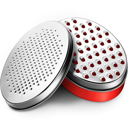 Cheese Grater with Food Storage Container and Lid Vegetable Chopper Shredder for Hard Soft Cheeses Cheddar, Ginger, Vegetables, Butter, Chocolate and Nutmeg (Red)