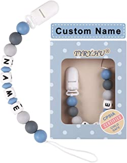 Personalized Pacifier Clips TYRY.HU Silicone Teether Toys Holder Chain for Baby Boys Shower Gift (Blue)
